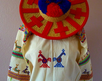 Collector Huichol Traje young male outfit 4 traditional pieces - vintage embroidered Mexican - straw hat & beadedbelt -  small size