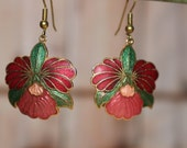 Vintage Enamel Earrings Red and Pink Orchids with Gold Tone Accents
