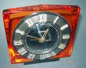 Old vINTAGE EAMES Era rUSSIAN USSR Desk cLOCK mANTEL MOLNIYA Orange Lucite