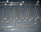 "29 Old Vintage Clear Crystal Glass Tear Drop Lamp Prism 2 parts 4 1/4"""