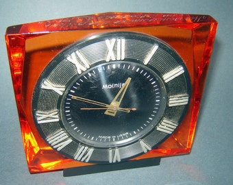 Old vINTAGE EAMES Era rUSSIAN USSR Desk cLOCK mANTEL MOLNIYA Orange Lucite
