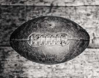 Vintage Football Print or Canvas Wrap, Football Gift for Boys Under 50, Gifts for Men, Black and White Football Print, Vintage Sports Decor.