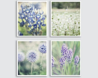Pastel Purple Flower Pictures or Canvas Art, Purple Nursery Decor, Shabby Chic Nursery Wall Art Set, Purple Decor, Shabby Purple Nature Art.