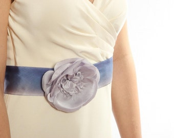 Purple Silk Bridal Belt W/ Flower Unique Lavender Silk Wedding Sash Tonal Monochromatic Made in Ohio Bridesmaid 1000238
