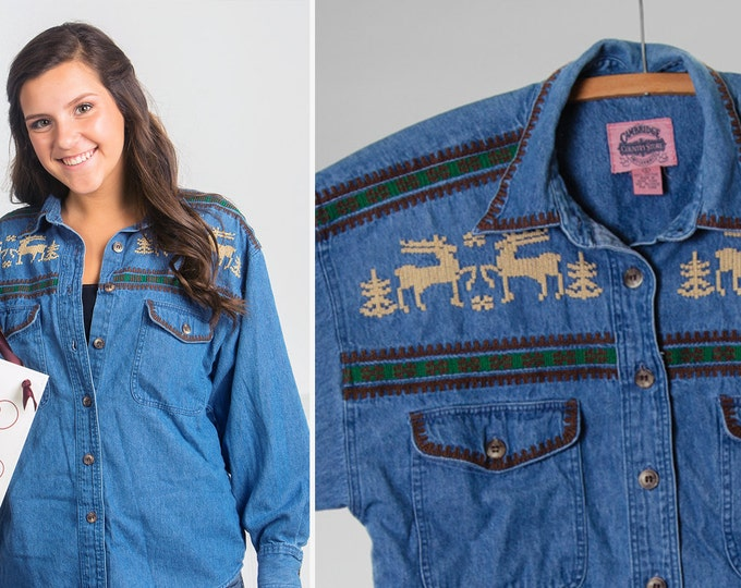 Small Medium 1980s 1990s Vintage Reindeer Shirt Denim Chambray | Embroidered Button Up | 5FF