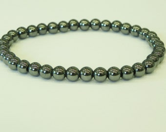 Mens hematite surfer style bracelet|grey gun metal gemstone|stackable|metallic shine|haematite|