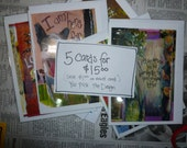 SALE Greeting Card Assortment,  Any 5 Cards for 15 Dollars, You Choose the Assortment, Mixed Media  Art cards by Seattle Artist Mary Klump