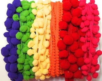 Bright Colors Scrap Pack, PomPom Trim, Beautiful Colors, End of Rolls, Stash Builder