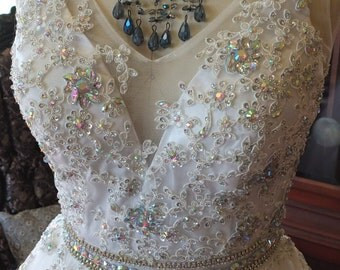 Wedding dress Sparkling Bead work on lace fairy princess tulle skirt prom wedding gown