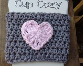Cute Grey With Pink Heart Crochet Cup Beverage Drink Cozy Hot Coffee Tea Gift Under 10