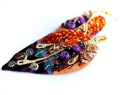 Statement , hand embroidered, colorfull, chunky, elegant, glam, sparkling, fabric earrings - Explosion