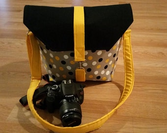 Womens camera bags, handmade, by Iuptown Chic-Dslr camera bag-Bag Purse-Camera case-Bonus BackSide Pocket-POLKA DOTS PASSION
