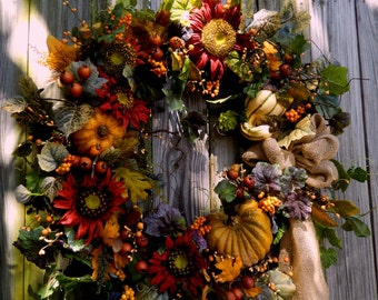 Fall Wreath , XL Fall WreathDoor Wreath ,  Autumn Harvest Wreath , Front Door Wreath , Pumpkin Patch