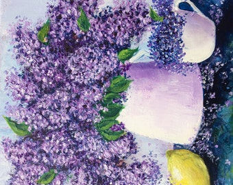 Lilac flowers and lemon acrylic painting
