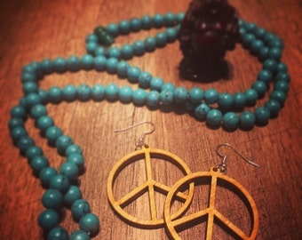 Wooden Peace Sign Earrings