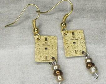 STEAMPUNK Earrings - Art Deco GOLD OMEGA Watch Face Earrings w Light Gold & Bronze Beads - Cool Surface Texture