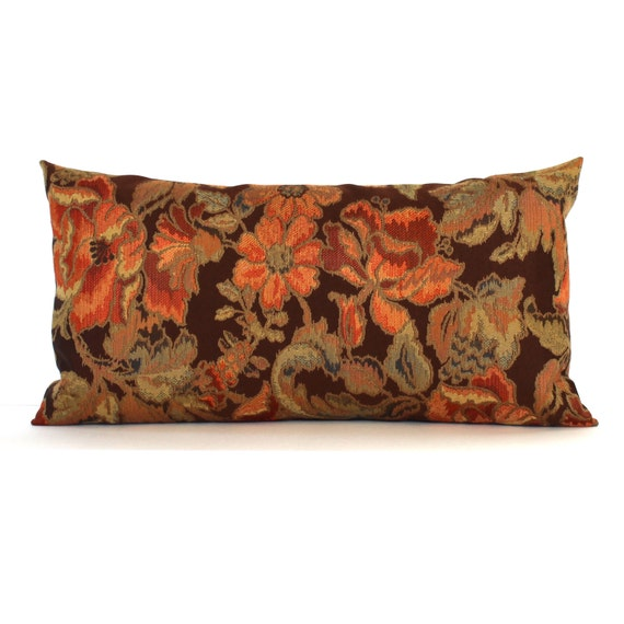 Decorative Lumbar Pillows Green : Lumbar Pillow Cover Brown Rust Orange Green Floral Decorative