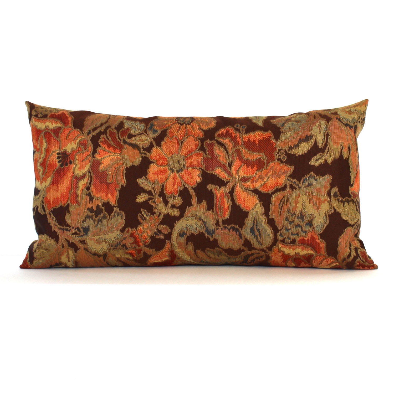 Lumbar Pillow Cover Brown Rust Orange Green Floral Decorative