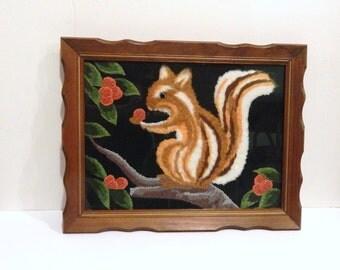 Vintage Squirrel - Squirrel Picture - Folk Art - Vintage Animal - Embroidered Picture