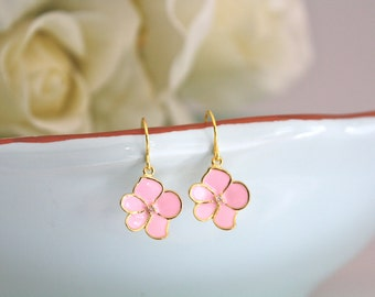 Pale Pink Gold Earrings, Cherry Blossom Earrings, Flower Girl Earrings, Dainty Gold Earrings, gifts for her, gifts for tweens