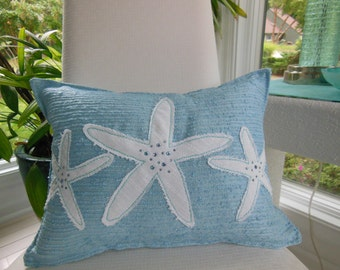 Blue Starfish Jeweled Designer Lumbar Pillow - Seaside Seashell Collection - 12 x 16 inch