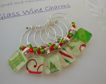 Holiday Wine Charms - Red Glass Charms - Green Charms - Set of Six - Glass Wine Charms - Hostess Gift - House Warming Gift - Secret Santa