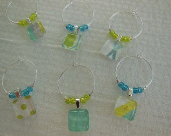 Aqua Wine Charms - Lime Green Glass Wine Charms - Set of Six - Aqua and Green with Glass Beads - Glass Wine Charms Made Pillowscape Designs