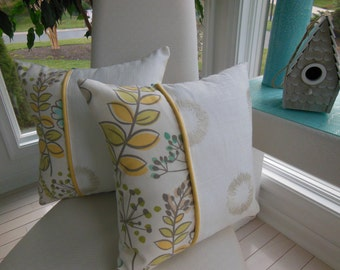 Three Fabric Pillow - Flower Pillow - Ivory Pillow - Robin Egg Blue Pillow - Yellow Pillow - Reversible Pillow - Teal Pillow - Green Pillow
