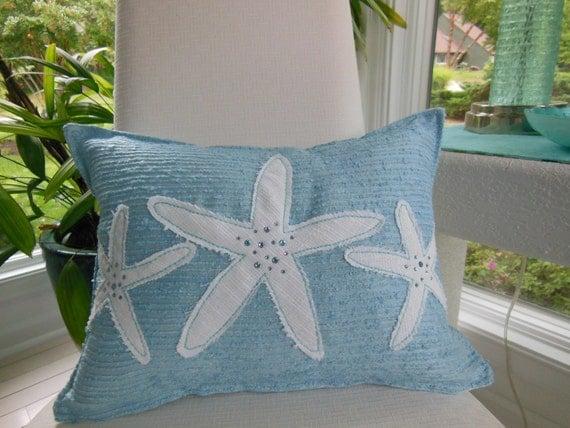 Decorative Jeweled Pillows : Iced Blue Starfish Jeweled Designer Lumbar Pillow Beach
