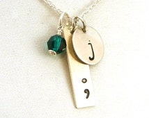 Semicolon with Initial Necklace - Mental Health Awareness Necklace - Suicide Prevention Necklace - Sterling Silver Jewelry