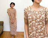 Maxi Floral Dress / 90s Pocket Dress / Orange Floral Print Ankle Length Short Sleeve Dress Boho Bohemian Hippie / Flower Print Small Medium