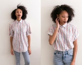 Unisex Button Up Shirt / 80s Grunge Painted Print Top Abstract Blouse Primary Colors Short Sleeve Vintage Hipster Retro Small Medium