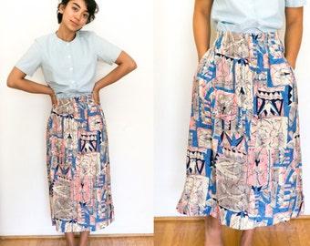 Bohemian Skirt / Pocket Skirt / Abstract Midi / Ethnic Print High Waisted Hippie 90s High Waist Boho Skirt Vintage Womens Small Pink Blue