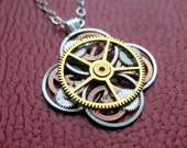 "Clockwork Flower Necklace ""Alvord"" Elegant Recycled Watch Parts Gear Pendant Mechanical Plant Balance Wheel Petals Valentine's Day"