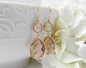 Champagne Earrings / Peach Earrings / Dangle Earrings /  Bridesmaid Earrings / Gold Earrings / Blush Bridesmaid Earrings / Bridesmaid Gift