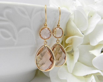 Champagne Earrings / Peach Earrings / Dangle Earrings /  Bridesmaid Earrings / Gold Earrings / Blush Bridesmaid Earrings / Bridesmaid Gift