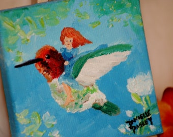 Fantasy Fairy and Hummingbird Painting Magnet - Original Oil Painting on Miniature Canvas