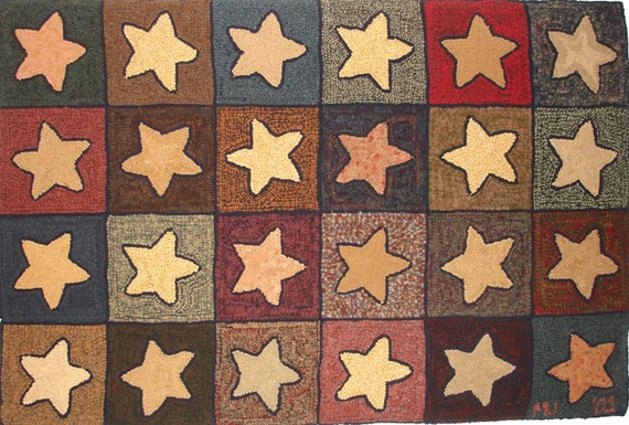 "Rug Hooking PATTERN, Stars Abound, 36"" x 54"", P111, Primitive Hooked Stars, Stars Rug Hooking Design"