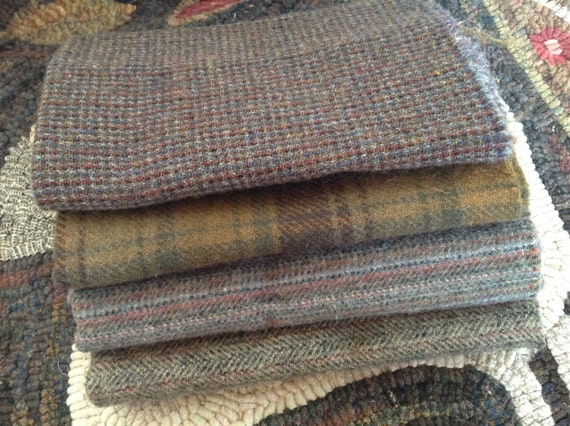 Rocky Path Wool Textures,  4) Fat Eighths, W206, Wool Fabric for Rug Hooking and Applique Wool, OOAK