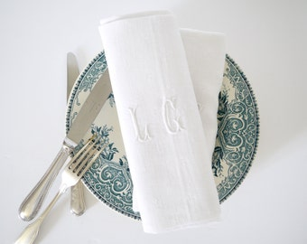 French Monogrammed linen napkins set of 12 letters LC