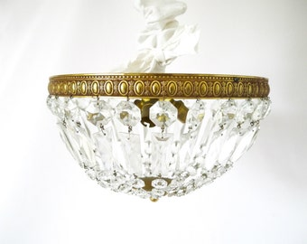 Extra Large french Vintage crystal and brass chandelier