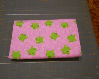Happy Lime Green Frogs on Pink Extra Large 41 x 41 Handmade Flannel Receiving Swaddle Baby Blanket
