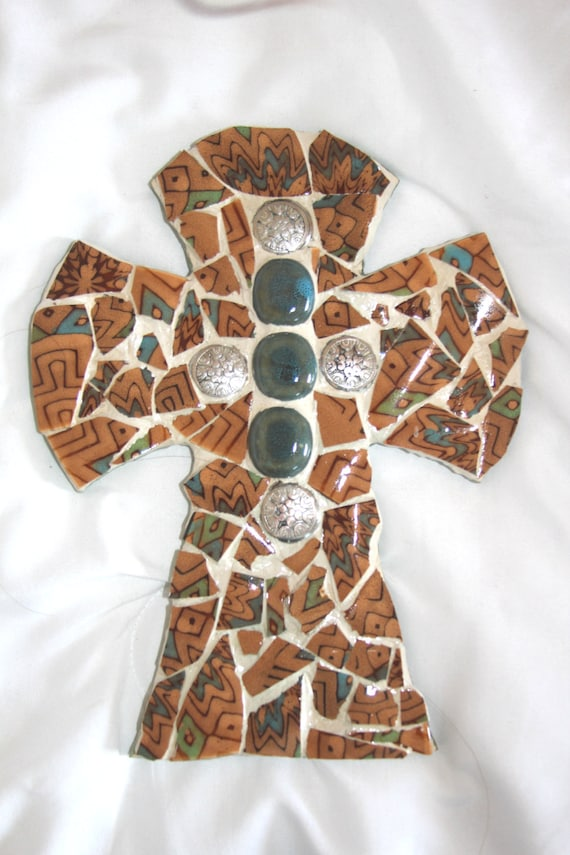 Broken dishes Mosaic Cross, Brown, green, blue with embelishment