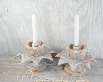 Unique Wood candle holders, set of 2 taper candle holders, candleholder, shabby chic