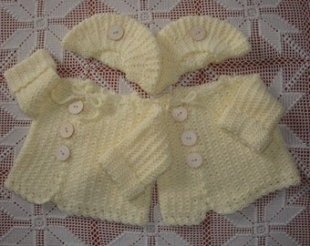 9-12 month Twin Crochet Cream-Colored Side-Button Sweater and Tam