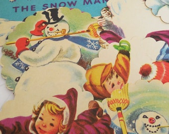 Frosty the Snowman - Scalloped Round Hand Punched Ephemera Tags - Childrens Vintage Book Paper -  13 Pcs