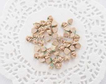 15pcs - Tiny Ceramic Alice Tea Time Beige Rose Decoden Cabochon (5mm) FL10018