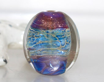 Unbalanced Water Shimmer Lampwork Glass Focal Bead