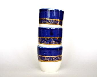 Golden Geometry - porcelain espresso cups - set of 3 - cobalt gold geometry ceramic coffee cups