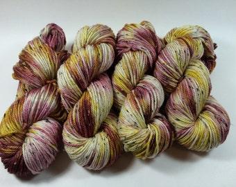 Squishy Tweed, Hand Dyed Yarn, Color, Bon Voyage, Hand Dyed yarn, tweed, superwash merino, aran weight, multi colored